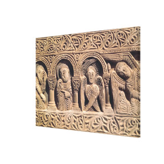 Relief depicting saints with a seraph canvas print