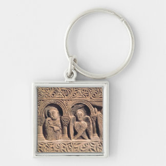 Relief depicting saints with a seraph key ring