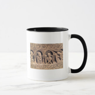 Relief depicting saints with a seraph mug