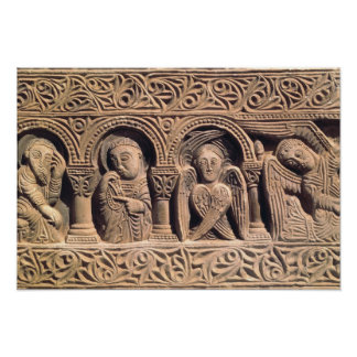 Relief depicting saints with a seraph poster