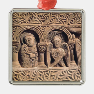 Relief depicting saints with a seraph Silver-Colored square decoration