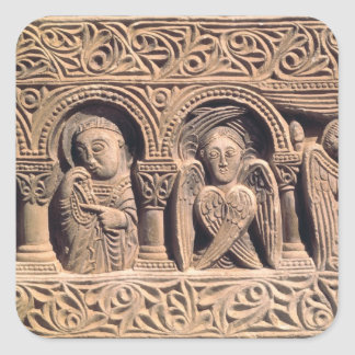 Relief depicting saints with a seraph square sticker