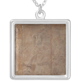 Relief depicting Sargon II Silver Plated Necklace