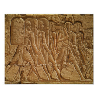 Relief depicting servants carrying rope poster