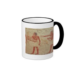 Relief depicting servants coffee mugs