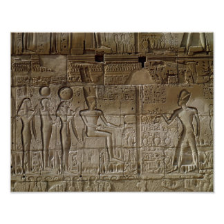 Relief depicting Seti I  making an offering Poster