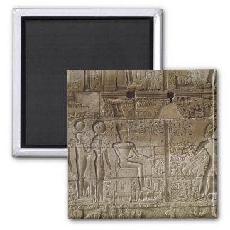 Relief depicting Seti I  making an offering Square Magnet