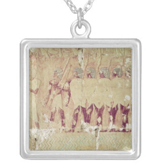 Relief depicting soldiers silver plated necklace