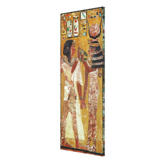 Relief depicting the Goddess Hathor placing Canvas Print