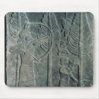 Relief depicting the hunting of birds in the mouse pad