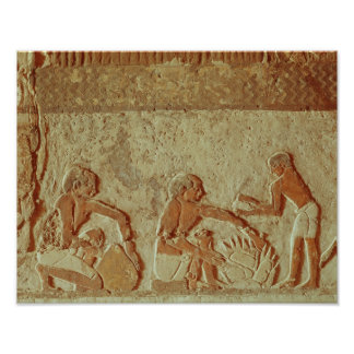 Relief depicting the making and baking of bread poster