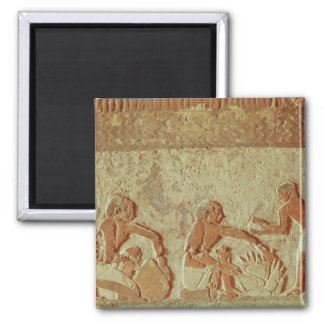 Relief depicting the making and baking of bread square magnet