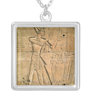 Relief depicting Tuthmosis III  making an Silver Plated Necklace