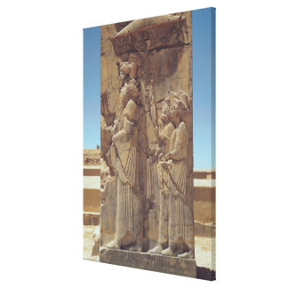 Relief depicting Xerxes I  with two attendants Canvas Print