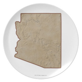 Relief Map of Arizona Plate