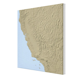 Relief Map of California and Nevada Canvas Print