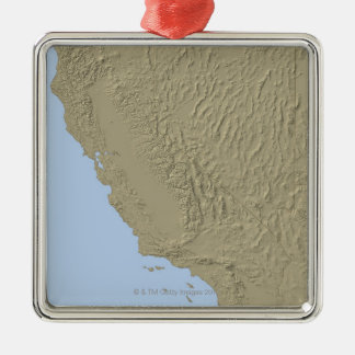 Relief Map of California and Nevada Silver-Colored Square Decoration