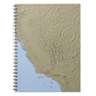 Relief Map of California and Nevada Spiral Note Books
