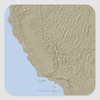 Relief Map of California and Nevada Square Sticker