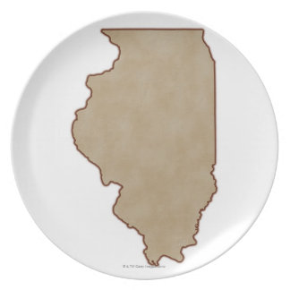 Relief Map of Illinois Plate