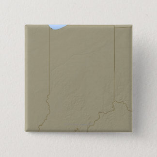 Relief Map of Indiana 15 Cm Square Badge