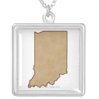Relief Map of Indiana 2 Silver Plated Necklace