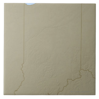 Relief Map of Indiana Large Square Tile