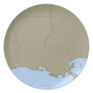 Relief Map of Louisiana Party Plates