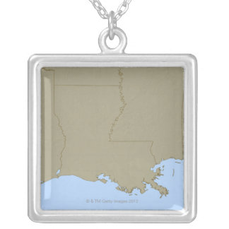 Relief Map of Louisiana Silver Plated Necklace