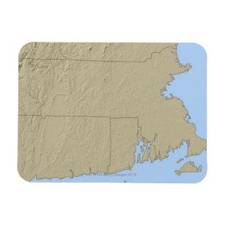Relief Map of Massachusetts Rectangular Photo Magnet