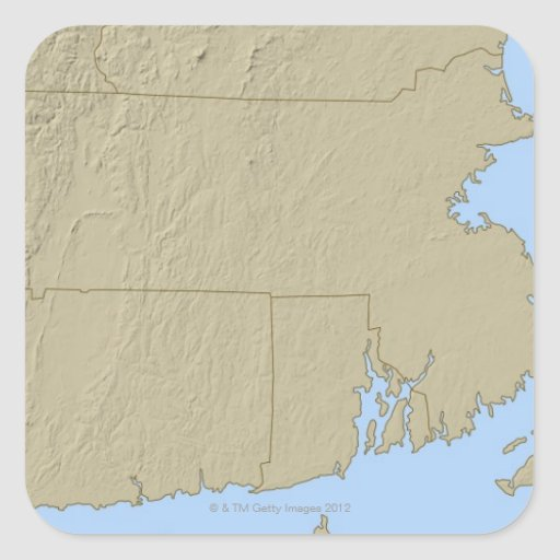 Relief Map of Massachusetts Square Stickers