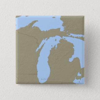 Relief Map of Michigan 15 Cm Square Badge