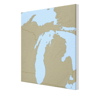 Relief Map of Michigan Canvas Print
