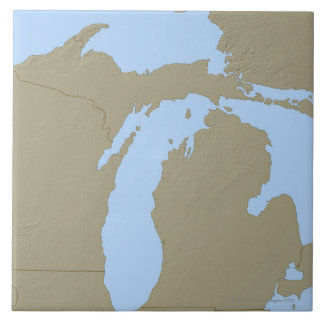 Relief Map of Michigan Large Square Tile