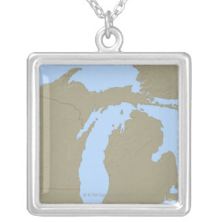Relief Map of Michigan Silver Plated Necklace