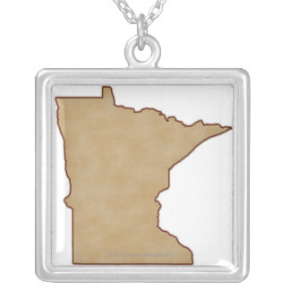 Relief Map of Minnesota Silver Plated Necklace