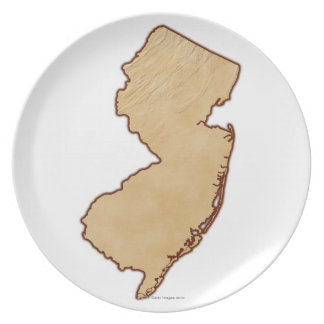 Relief Map of New Jersey Plate