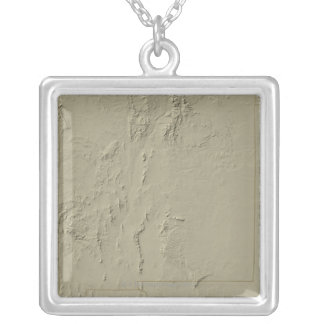 Relief Map of New Mexico Silver Plated Necklace