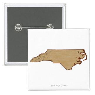 Relief Map of North Carolina 15 Cm Square Badge
