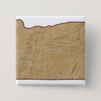 Relief Map of Oregon 2 15 Cm Square Badge