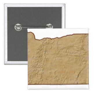 Relief Map of Oregon 2 15 Cm Square Badge