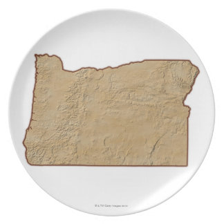 Relief Map of Oregon 2 Plate