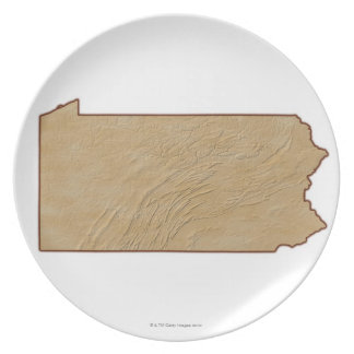 Relief Map of Pennsylvania Plate