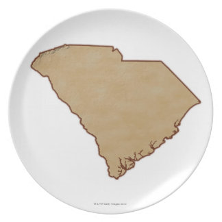 Relief Map of South Carolina Plate