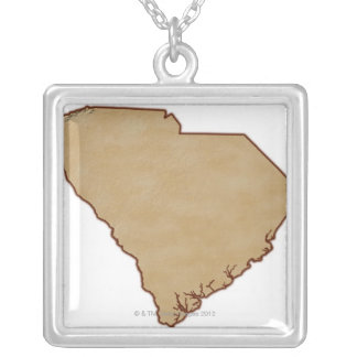 Relief Map of South Carolina Silver Plated Necklace