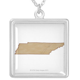 Relief Map of Tennessee Silver Plated Necklace