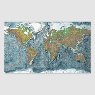 Relief Map of the Earth Rectangular Sticker