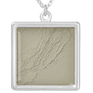 Relief Map of Virginia 2 Silver Plated Necklace