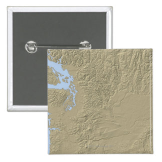 Relief Map of Washington 15 Cm Square Badge