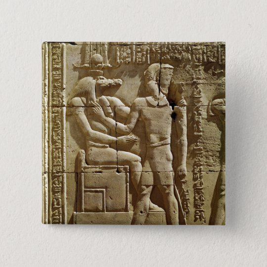 Relief of Sobek and Ptolemy VI Philometor 15 Cm Square Badge